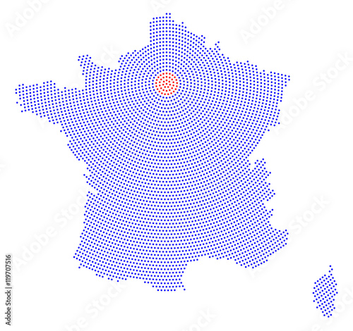 Capital Of France Map.France Map Radial Dot Pattern Blue Dots Going From The Capital