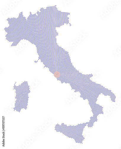 Capital Of Italy Map.Italy Map Radial Dot Pattern Blue Dots Going From The Capital Rome
