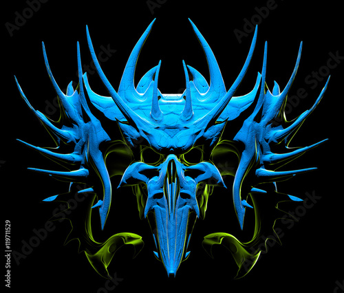 Photo  Skull design on a black background for Halloween.
