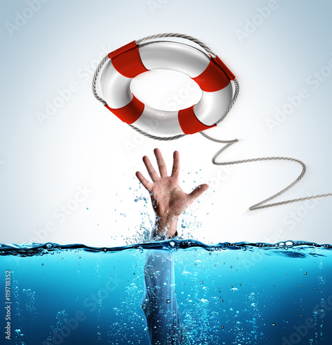 Fotografía  Rescue Concept - Lifebelt To Help Businessman In Drowning