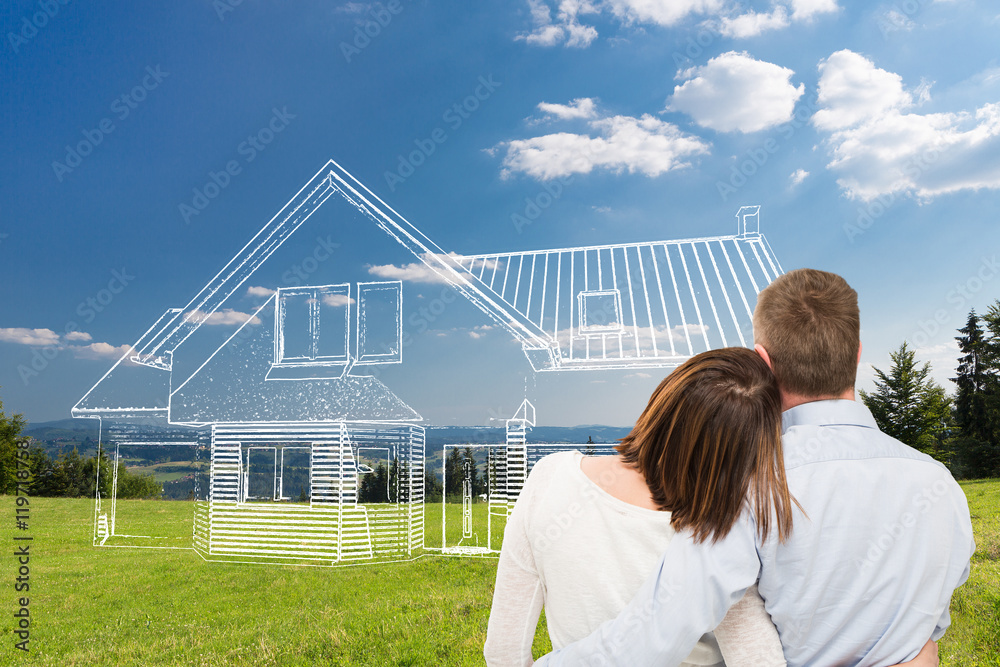 Fototapeta Young couple looking at dream house.