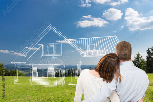 Fototapeta Young couple looking at dream house. obraz