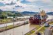 canvas print picture - Ship crossing Panama Canal at Miraflores Locks - Panama City, Panama