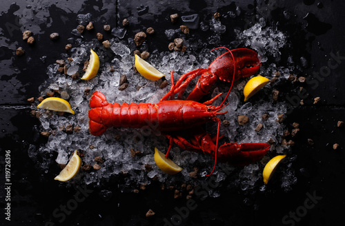 Fotografia Red lobster with ice and lime,Top view of fresh Lobster