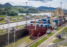 Ship Crossing Panama Canal Bei...