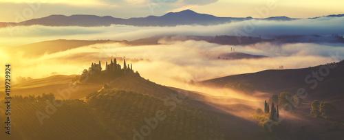 Tuinposter Zwavel geel Tuscan autumn landscape,retro colors, vintage