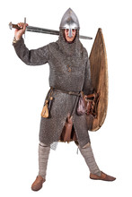 Norman Knight Dressed Warrior 2nd Half Of The 11th Century. Isolated On White