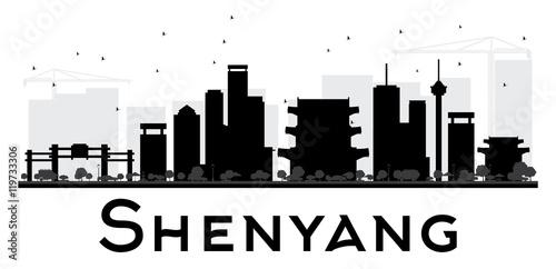 Fotografie, Obraz  Shenyang City skyline black and white silhouette.