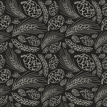 Malt And Cone Hop Seamless Pattern