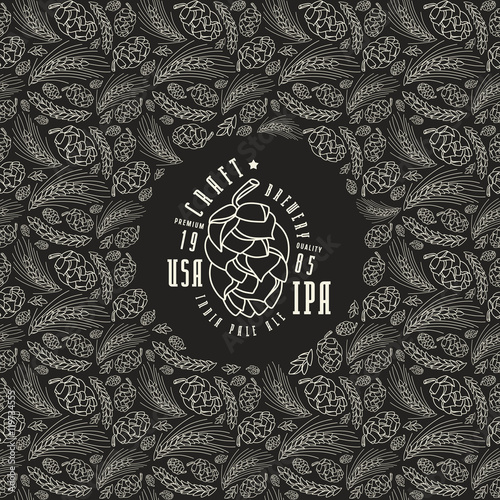 Photo  Malt and cone hop pattern. Craft beer brewery label