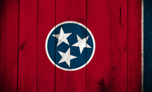 Wooden Flag Of Tennessee USA