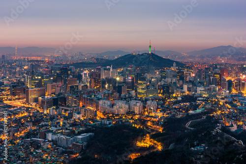 Zdjęcie XXL Seoul City Skyline, Korea Południowa
