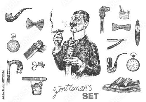 Fotografie, Obraz  Victorian Era set, Gentleman's vintage accessories doodle collection