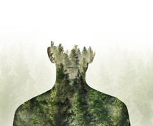 Double Exposure Of Person And Digital Illustration 3d Rendered