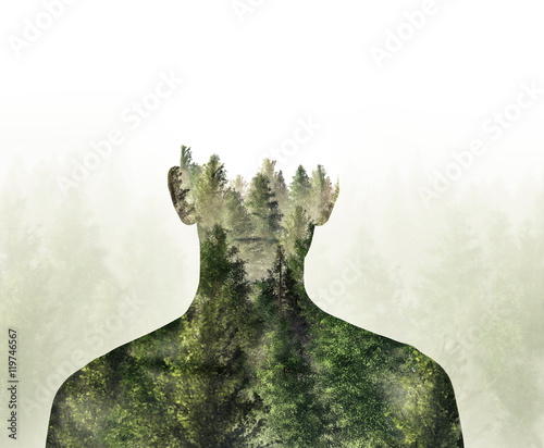 Fotografie, Obraz  Double exposure of person and Digital Illustration 3d Rendered