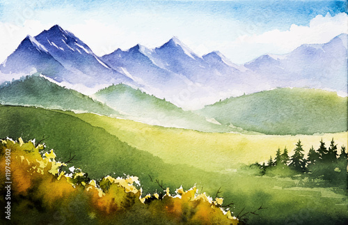 Staande foto Pistache Autumn landscape. Watercolor illustration.