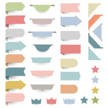 Set Of Web Design Elements - Corners, Banners, Ribbons, Stars,labels In Pastel-retro Colors.