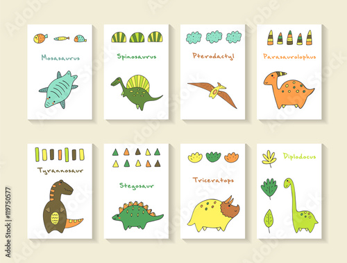 Photo  Cute hand drawn doodle dino collection