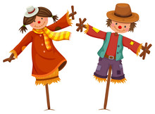 Two Scarecrows Look Like Human Boy And Girl