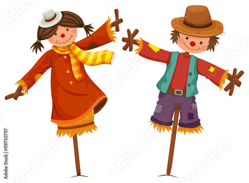 Fotografia Two scarecrows look like human boy and girl