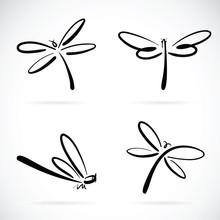 Vector Group Of Dragonfly Sket...