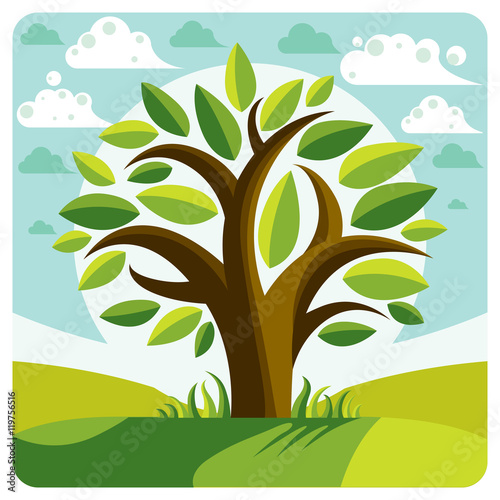 Fotografie, Obraz  Art vector graphic illustration of stylized branchy tree and spr