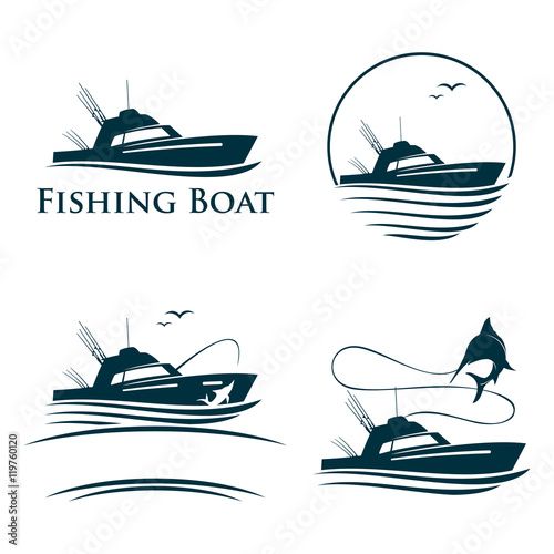 Fotografia Collection of Fishing Boat Logo Template