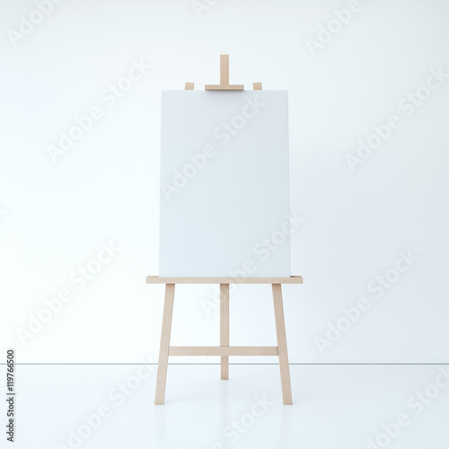 Photo  Wooden easel with empty white canvas. 3d rendering