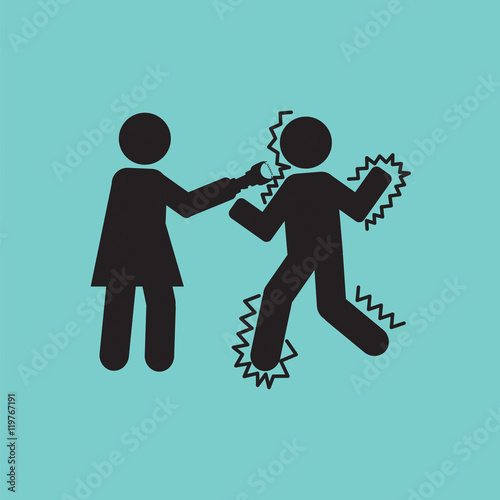 Fotografie, Obraz  Woman Using A Stun Gun With A Man Vector Illustration