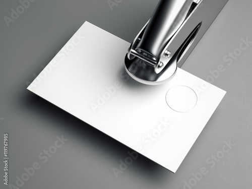 Fotografija  Metal embosser with blank business card. 3d rendering