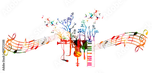 Creative Music Style Template With Music Instruments Colorful