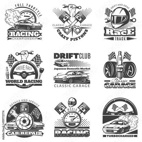 Carta da parati Set of car racing black monochrome emblems, labels, logos and championship race badges with descriptions of classic garage, drift club, world racing