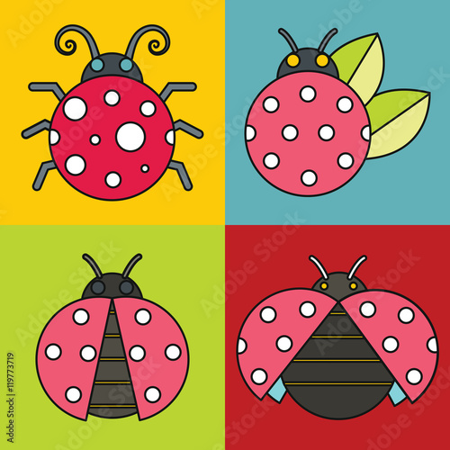 Poster Geometrische dieren Ladybug icons with black stroke on color background