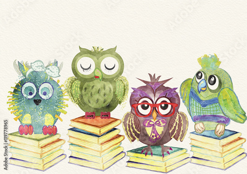 Poster Uilen cartoon Owl background. Children illustration. Watercolor