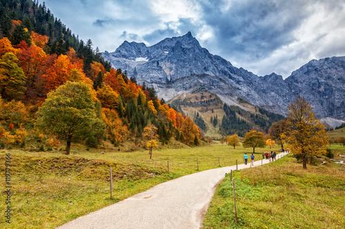 Foto op Canvas Herfst Path through autumn mountain landscape in the Alps, Engalm, Austria, Tirol.