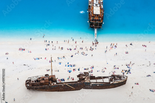 Photo Stands Shipwreck Famous Navagio beach, Zakynthos, Greece, from unusual perspective