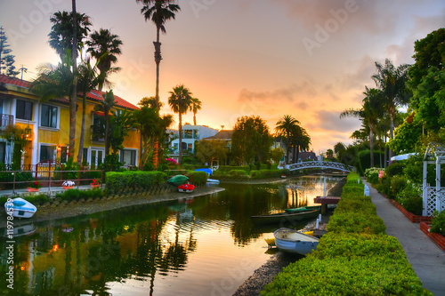 Houses on the Venice Beach Canals in California. Fototapeta