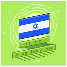 Israel Flag  : Flag Icon With Festive Background : Vector Illustration