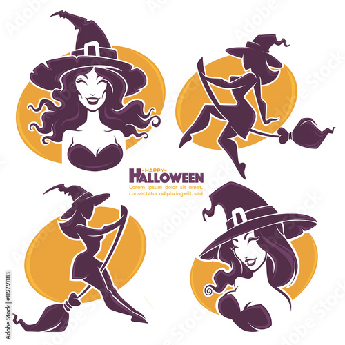 Aluminium Prints Wild West young happy and attractive witches, vector Halloween collection