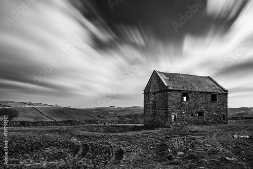 Stunning long exposure black and white landscape of derelict bar Poster