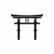 Japanese Torii Icon In Simple Style Isolated On White Background. Religion Symbol