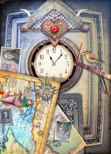 Poster Imagination Orologio steampunk con cuore-l'immaginazione e il ricordo.