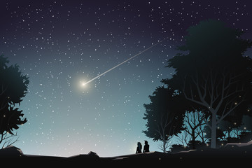 couple watch shooting star in forest