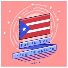 Puerto Rico Flag  : Flag Icon With Festive Background : Vector Illustration