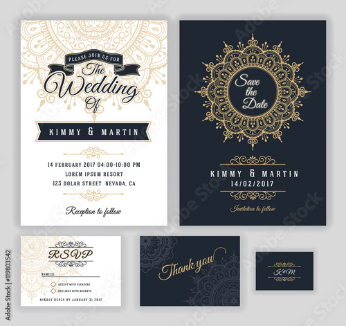 Vintage Wedding Invitation Mehndi Mandala Design Sets