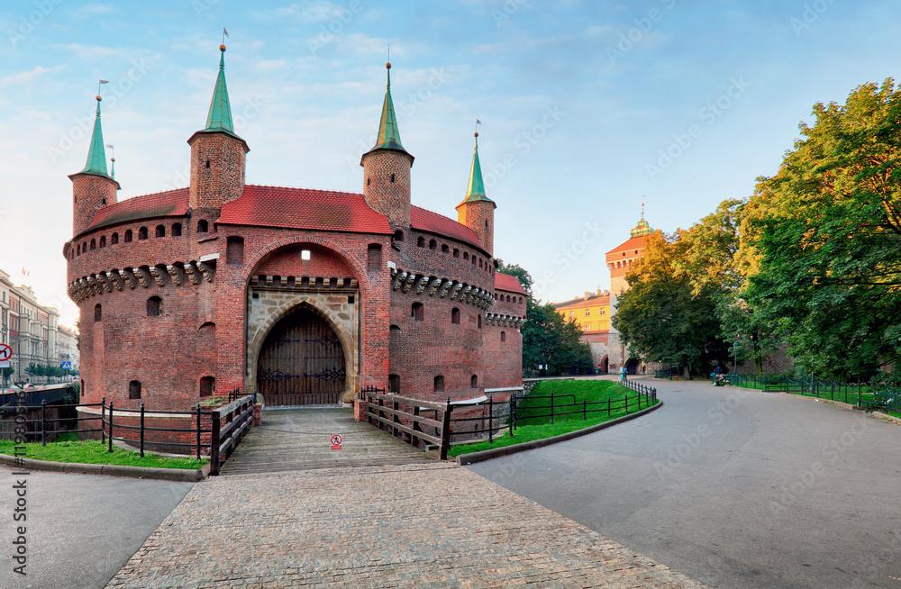 Fototapety, obrazy: Kraków barbakan - średniowieczne fortyfikacje przy murach miejskich