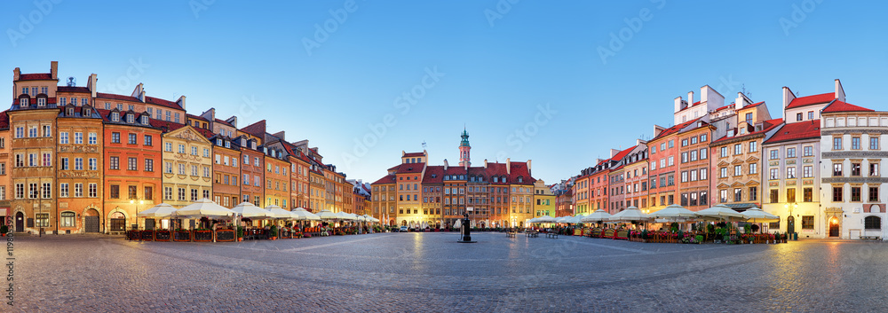 Fototapety, obrazy: Warsaw, Old town square at summer, Poland, nobody