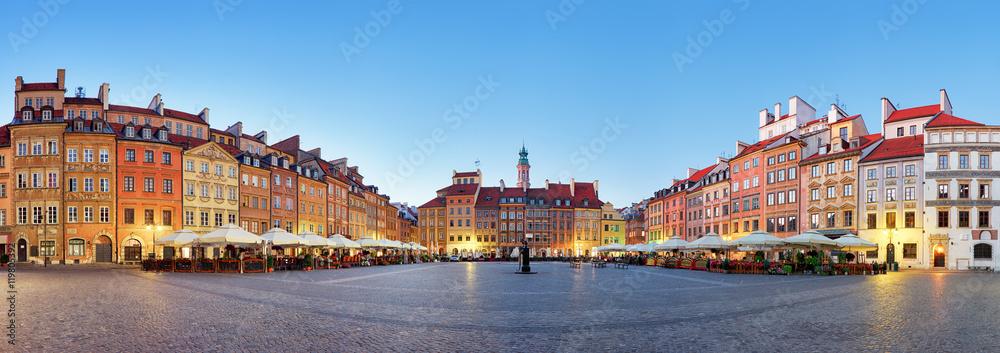 Fototapety, obrazy: Warszawa, Rynek Starego Miasta latem