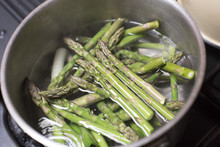 Asparagus Spears Boiling In A Pan