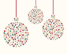 Vector Illustration Of A Christmas Greeting Card With Decorative Design Elements